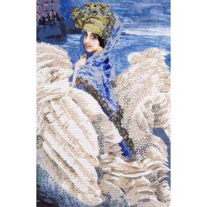 Пример вышитой работы в рамке Царевна-лебедь Набор для вышивания бисером Золотое Руно РТ-065