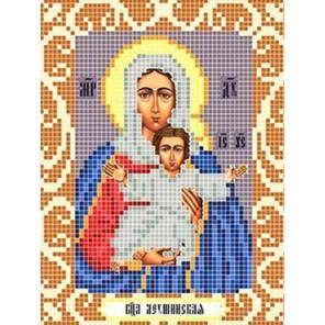 Пример оформления в рамку Богородица Леушинская Ткань для вышивания с нанесенным рисунком Божья коровка 0088