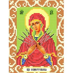 Пример оформления в рамку Богородица Семистрельная Ткань для вышивания с нанесенным рисунком Божья коровка 0090