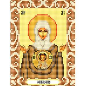 Пример оформления в рамку Богородица Знамение Ткань для вышивания с нанесенным рисунком Божья коровка 0097