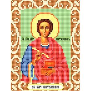Пример оформления в рамку Святой Пантелеймон Ткань для вышивания с нанесенным рисунком Божья коровка 0099