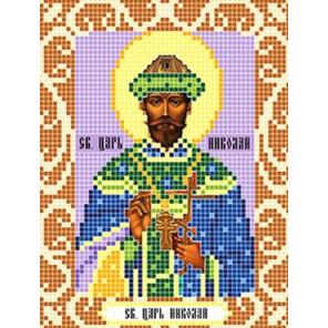 Пример оформления в рамку Святой Царь Николай Ткань для вышивания с нанесенным рисунком Божья коровка 0101