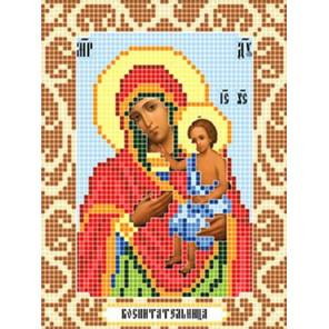 Пример оформления в рамку Богородица Воспитательница Ткань для вышивания с нанесенным рисунком Божья коровка 0104