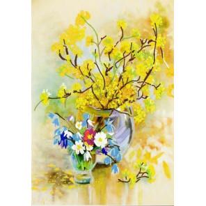 Пример оформления в рамку Весенний цвет Ткань с нанесенным рисунком для вышивки бисером Конек 8486
