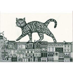 Кот на крыше Ткань с нанесенным рисунком для вышивки бисером Конек 1258