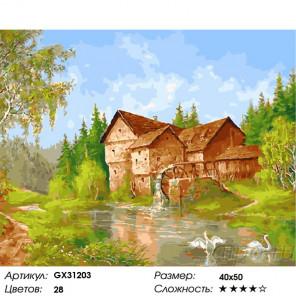 Сложность и количество цветов Водяная мельница в лесу Раскраска картина по номерам на холсте GX31203