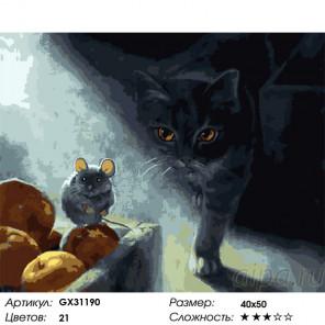 Сложность и количество цветов Охота на грызуна Раскраска картина по номерам на холсте GX31190