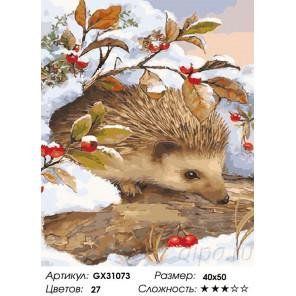 Сложность и количество цветов Зимовка ежа Раскраска картина по номерам на холсте GX31073