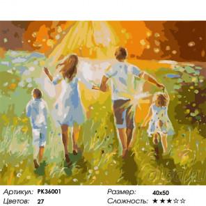 Сложность и количество цветов Летняя прогулка с семьей Раскраска картина по номерам на холсте PK36001