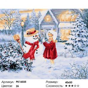 Сложность и количество цветов Первый снеговик Раскраска картина по номерам на холсте PK16035