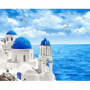 Белоснежный Санторини Раскраска картина по номерам на холсте Z-GX29448