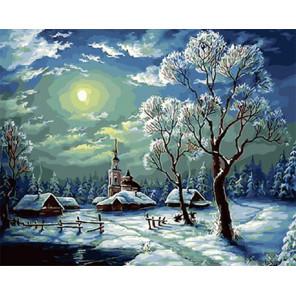 Зимний ночной пейзаж Раскраска картина по номерам на холсте Z-GX29459