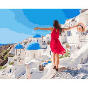 Курортный Санторини Раскраска картина по номерам на холсте Z-GX31624