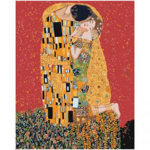 Золотой поцелуй, Густав Климт 100х125 Раскраска картина по номерам на холсте