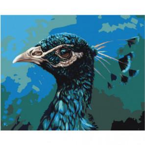 Голова павлина 100х125 Раскраска картина по номерам на холсте