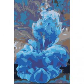 Синяя абстракция Раскраска картина по номерам на холсте