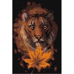 Тигр с кленовым листом Раскраска картина по номерам на холсте