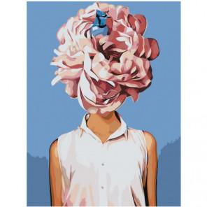 Девушка с розовым цветком 60х80 Раскраска картина по номерам на холсте