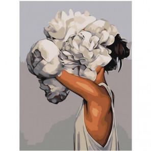 Девушка с цветком 75х100 Раскраска картина по номерам на холсте