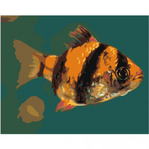 Желто-черная рыбка Раскраска картина по номерам на холсте