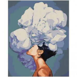 Девушка с пышным белым цветком 80х100 Раскраска картина по номерам на холсте
