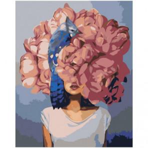 Девушка под розовым цветком с птицей 100х125 Раскраска картина по номерам на холсте