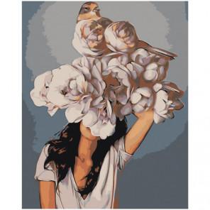 Девушка под пышным цветком 100х125 Раскраска картина по номерам на холсте