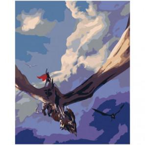 Верхом на драконе 80х100 Раскраска картина по номерам на холсте
