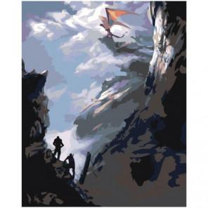 Дракон на скале 80х100 Раскраска картина по номерам на холсте