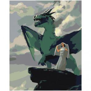 Девушка и дракон 100х125 Раскраска картина по номерам на холсте