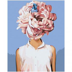 Девушка с розовым цветком 80х100 Раскраска картина по номерам на холсте