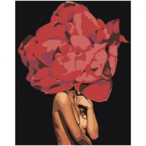 Девушка с пышным красным цветком 100х125 Раскраска картина по номерам на холсте