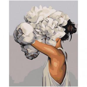 Девушка за белым цветком 100х125 Раскраска картина по номерам на холсте