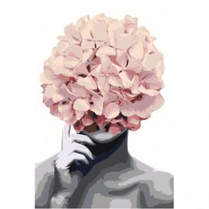 Розовая Цветочная голова Раскраска картина по номерам на холсте