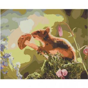 Белка с грибом 100х125 Раскраска картина по номерам на холсте