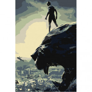 Чёрная Пантера Раскраска картина по номерам на холсте