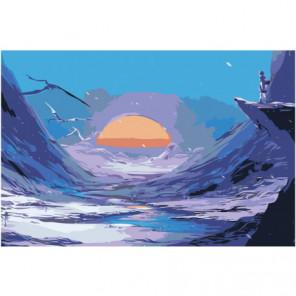 Закатное солнце Раскраска картина по номерам на холсте