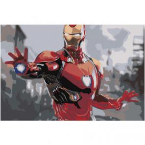 Железный человек 80х120 Раскраска картина по номерам на холсте