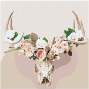 Череп оленя с розами 80х80 Раскраска картина по номерам на холсте