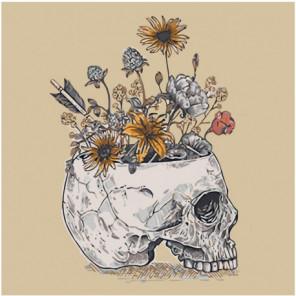 Полевые цветы в черепе 80х80 Раскраска картина по номерам на холсте