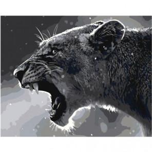 Черно-белая львица 80х100 Раскраска картина по номерам на холсте