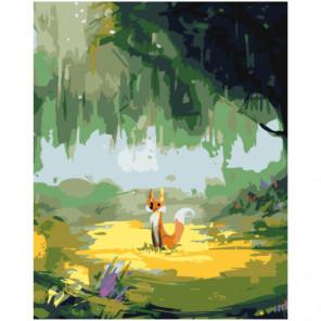 Лисенок на лужайке Раскраска картина по номерам на холсте