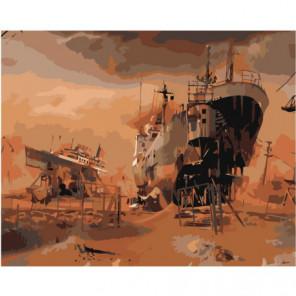 Корабли Раскраска картина по номерам на холсте