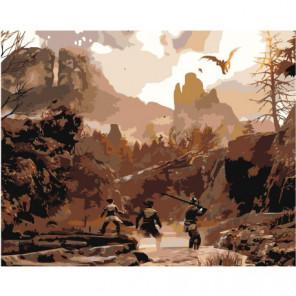 Охота в горах 80х100 Раскраска картина по номерам на холсте
