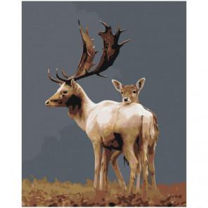 Олень и олененок 100х125 Раскраска картина по номерам на холсте