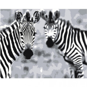 Две зебры 80х100 Раскраска картина по номерам на холсте