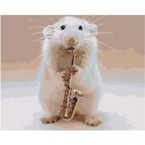 Мышонок саксофонист 80х100 Раскраска картина по номерам на холсте