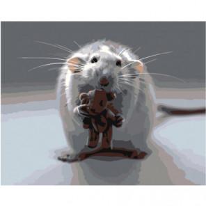 Мышонок с мишкой 100х125 Раскраска картина по номерам на холсте