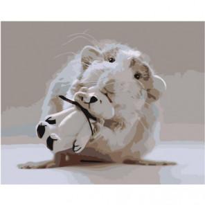 Мышонок с белым мишкой 100х125 Раскраска картина по номерам на холсте