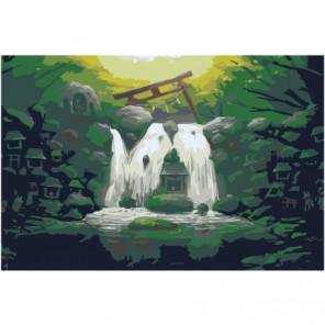 Водопад и домики 100х150 Раскраска картина по номерам на холсте